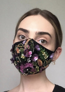 Couture Isabelle Face Covering - Fully embellished Black/Multi