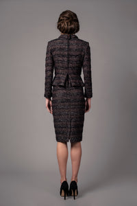 Peplum tweed skirt suit