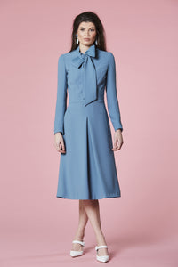 Petrol tie neck dress