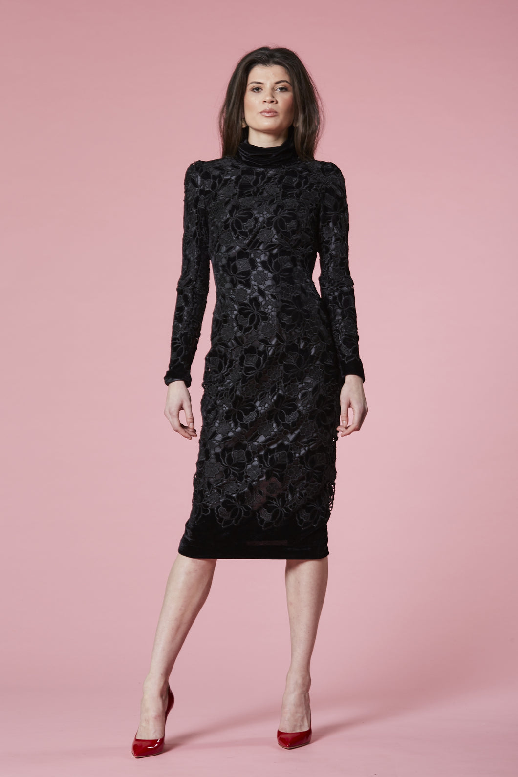 Black lace devore dress