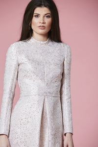 LOW IN STOCK - Ivory & gold jacquard dress