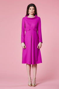Magenta tab coat dress