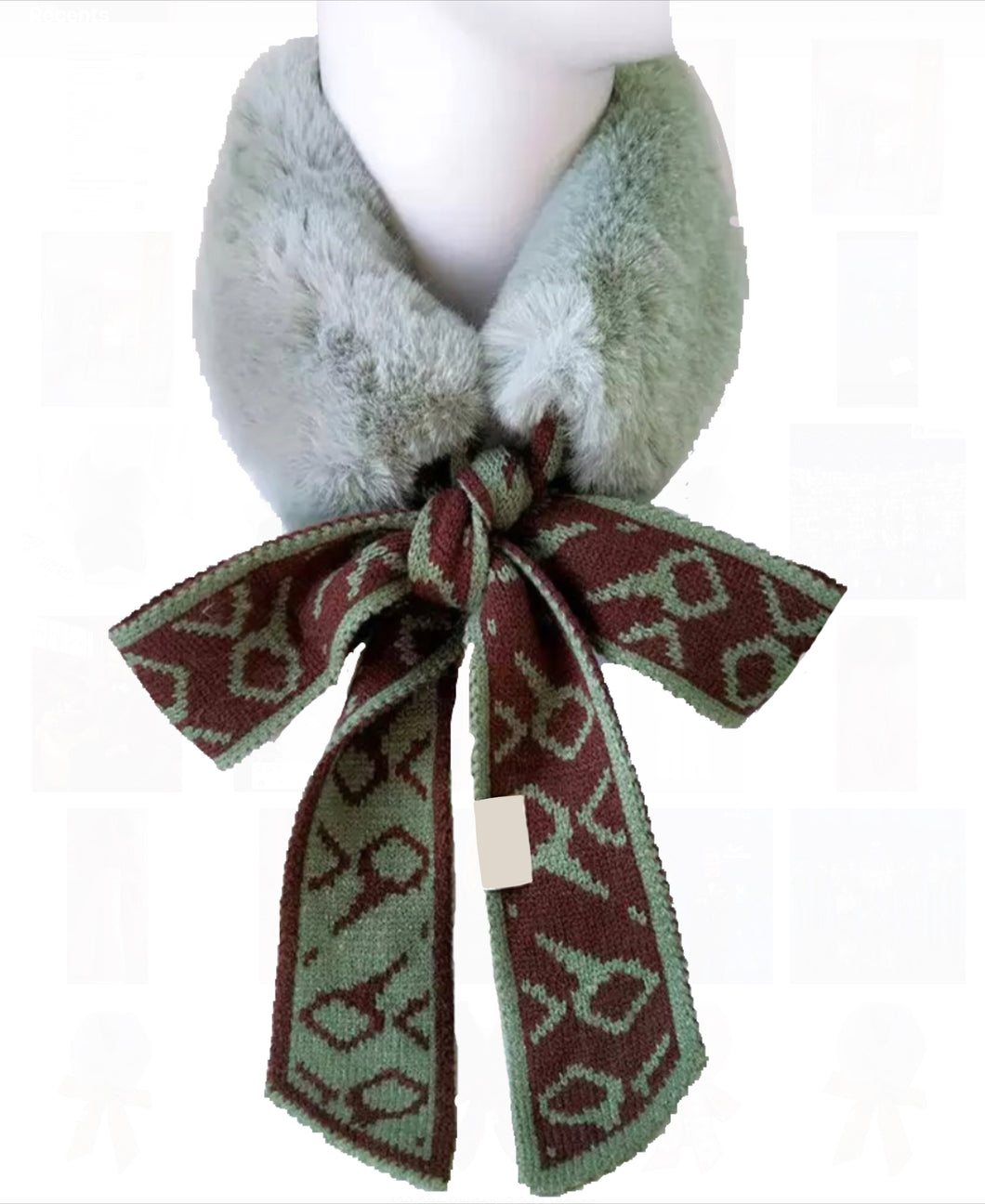NEW Amelia faux fur scarf - Mint/Brown
