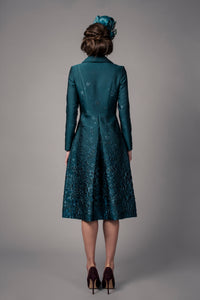 Teal pleat coat