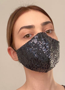 NEW Olivia Face Covering - Navy sequin