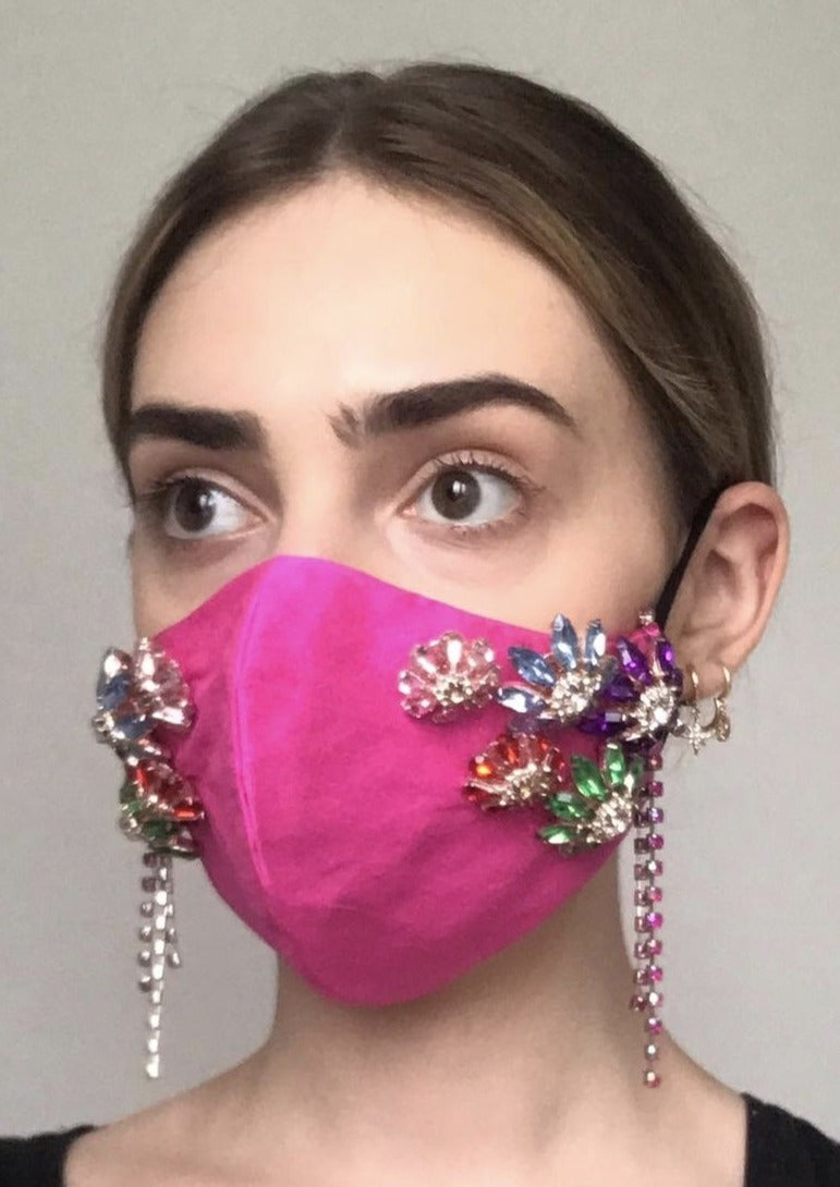 Couture Isabelle Face Covering - Hot pink embellished