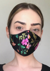 Olivia Face Covering - Black floral