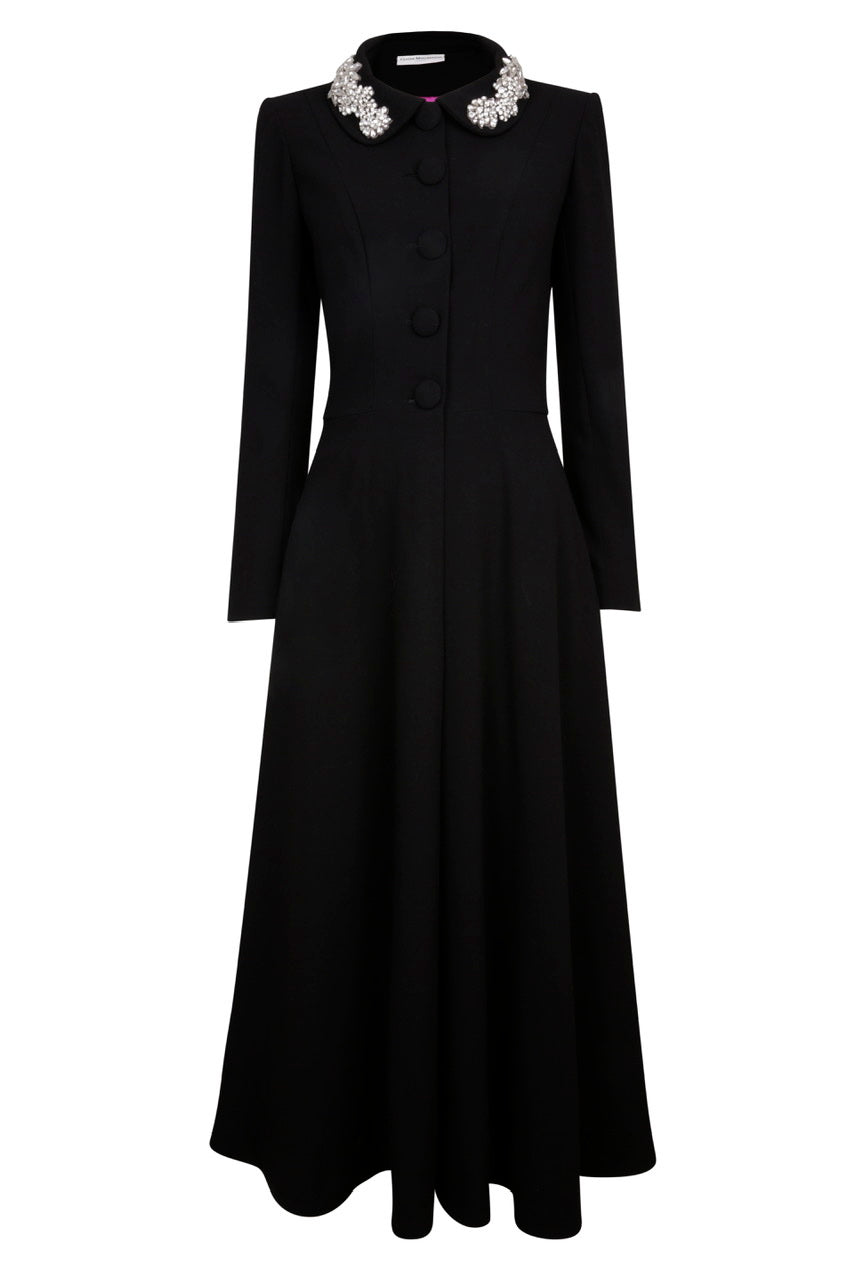 Grace Coat Dress - Long - Black Crystal