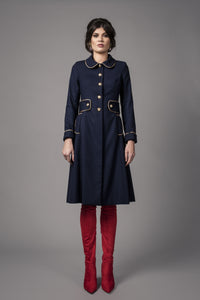 Navy/Gold Italian crepe dress coat