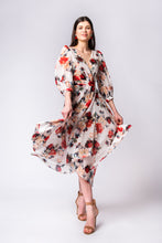 Load image into Gallery viewer, Ivory rose chiffon wrap dress