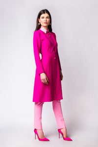 Fuchsia pleat georgette coat