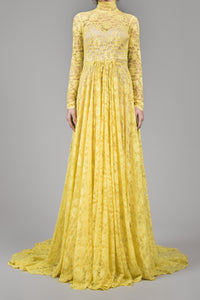 Canary yellow lace overlay