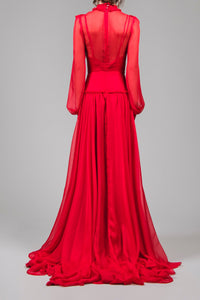 SOLD OUT - Ruby frill silk gown
