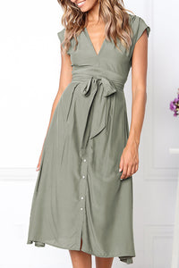 Gorgegal Casual Lace-up Buttons Design Green Midi Dress - Gorgegal