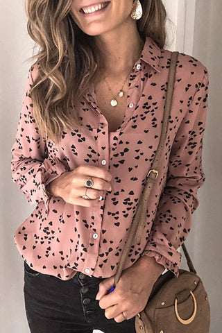 Gorgegal Turndown Collar Print Dusty Pink Blouse - Gorgegal