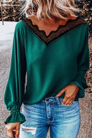 Gorgegal V Neck Lace Patchwork Green Blouse - Gorgegal