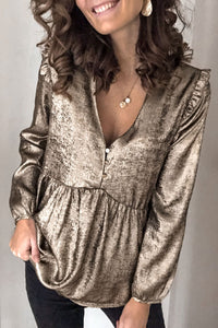 Gorgegal V Neck Ruffle Design Gold Blouse - Gorgegal