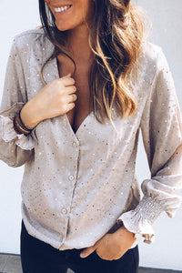 Gorgegal V Neck Print Grey Shirt - Gorgegal