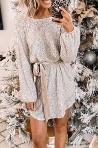 Gorgegal Christmas Day Sequin Silver Mini Dress - Gorgegal