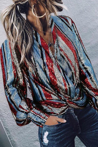 Gorgegal Striped Sequin Multicolor Shirt - Gorgegal