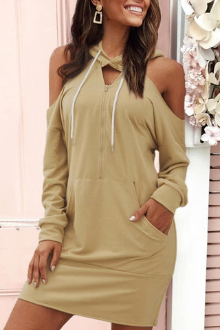 Gorgegal Dew Shoulder Straight Light Yellow Mini Dress - Gorgegal