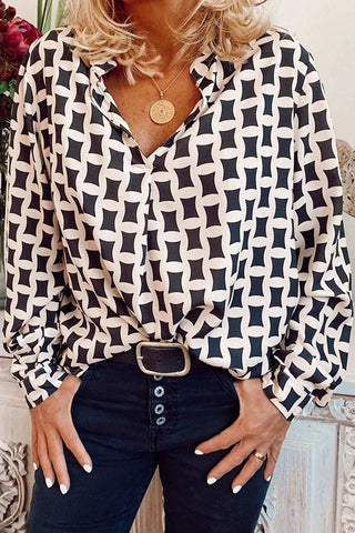 Gorgegal Geometric Printed White Blouse - Gorgegal