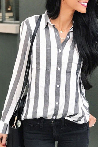 Gorgegal Casual Striped Grey Shirt - Gorgegal