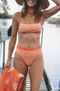 Gorgegal Striped Orange Two-Piece Swimsuit - Gorgegal