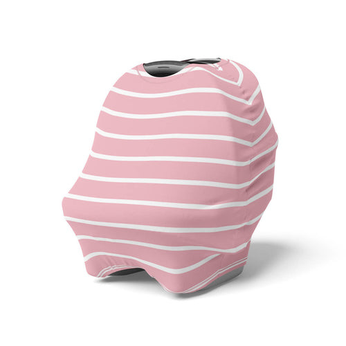 5 in 1 Multi Use Cover - Pink Stripes - Capsule Cover, Highchair Cover, Shopping Trolley Cover, Breastfeeding Cover, Infinity Scarf