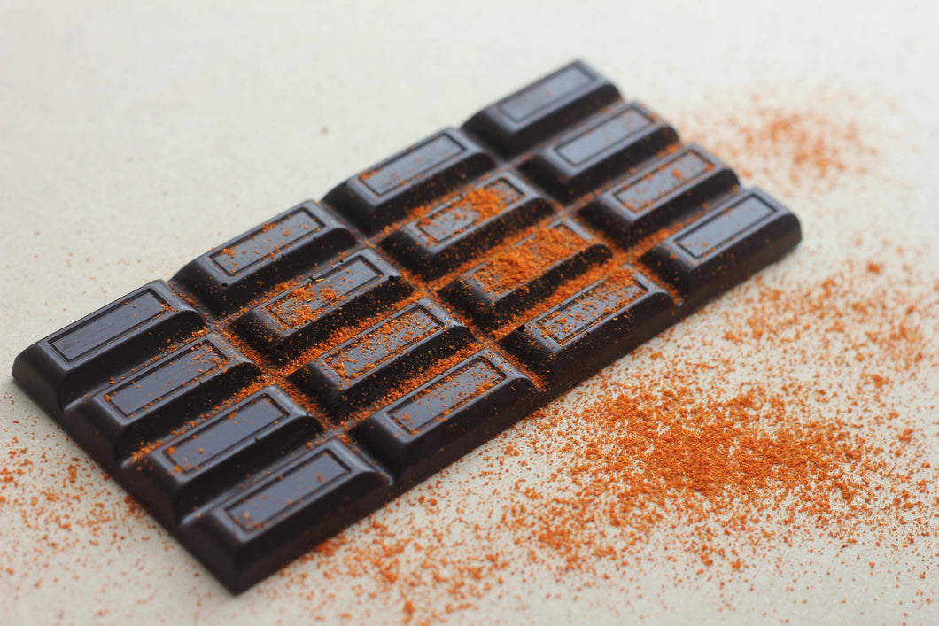 Dark cayenne pepper chocolate bar