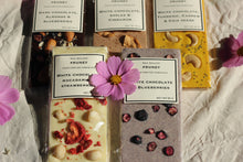 Load image into Gallery viewer, White turmeric cashew chia seeds chocolate bar
