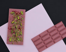 Load image into Gallery viewer, Ruby pistachios raspberries chocolate bar