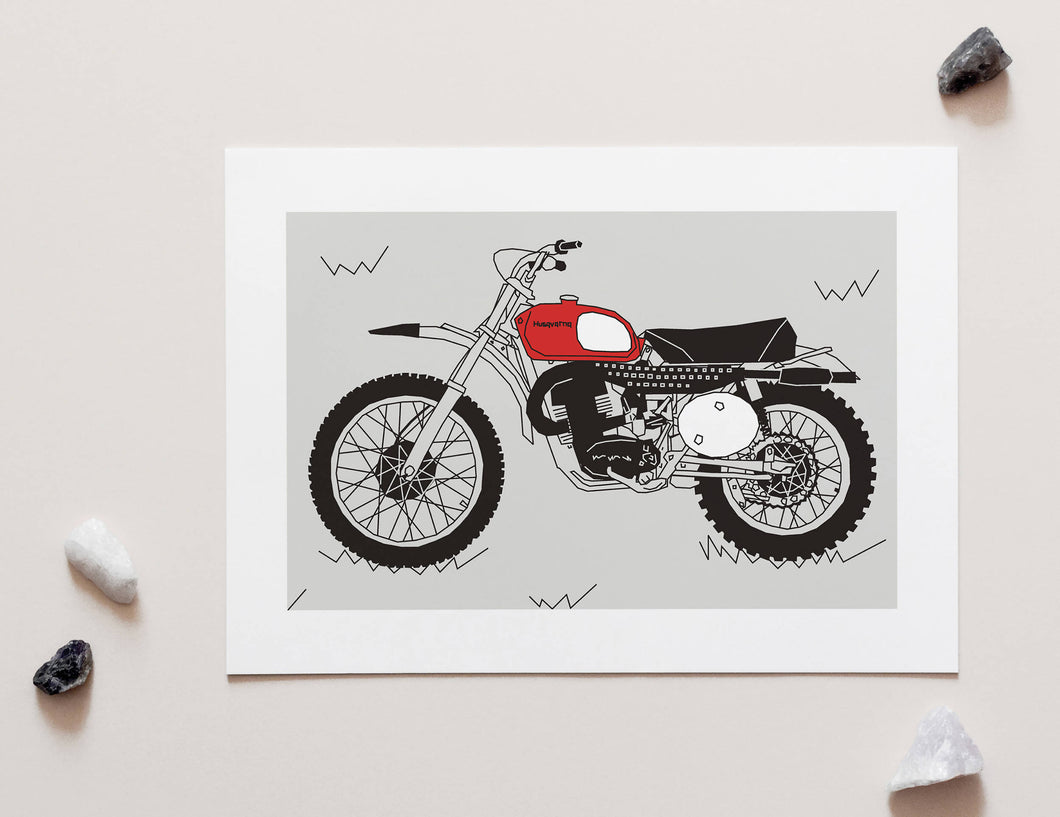 Red Vintage Motorcross Motorcycle - A4 Unframed Art Print