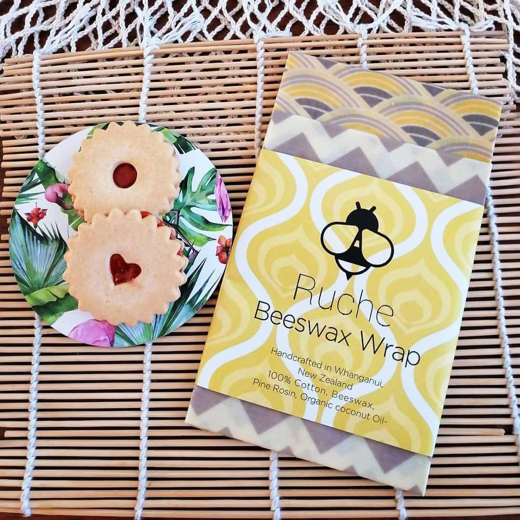 Beeswax Ruche Wrap - Winter Tea Party Twin Pack Collection B