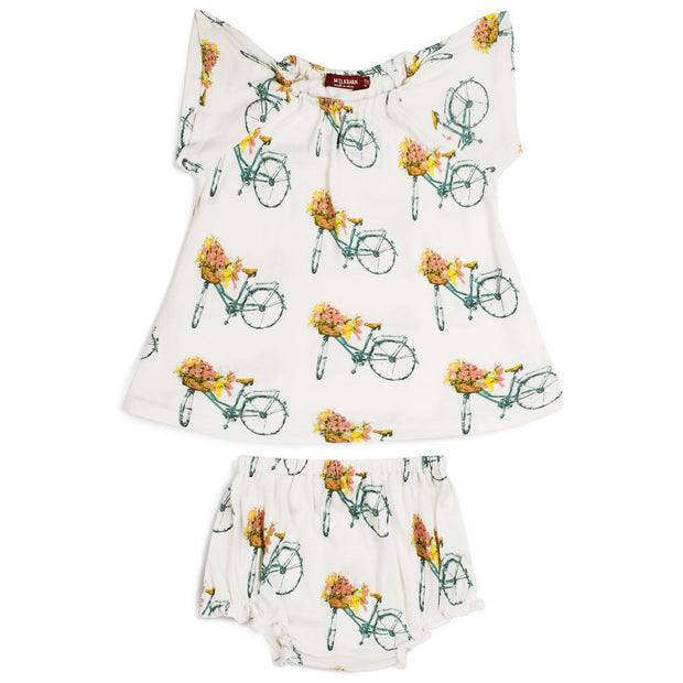 Milkbarn Floral Bicycle Dress & Bloomer Set