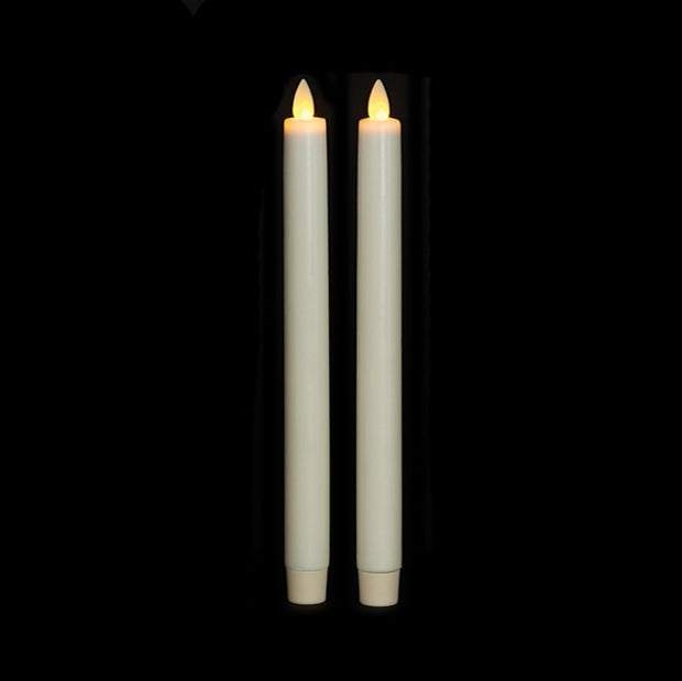 Taper Candles Set of 2- 10 in., Ivory Wax/Unscented, Moving Flame