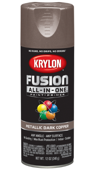 Krylon Fusion All-In-One Metallic Dark Copper Paint + Primer Spray Paint 12 oz.