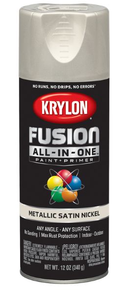 Krylon Fusion All-In-One Metallic Satin Nickel Paint + Primer Spray Paint 12 oz.