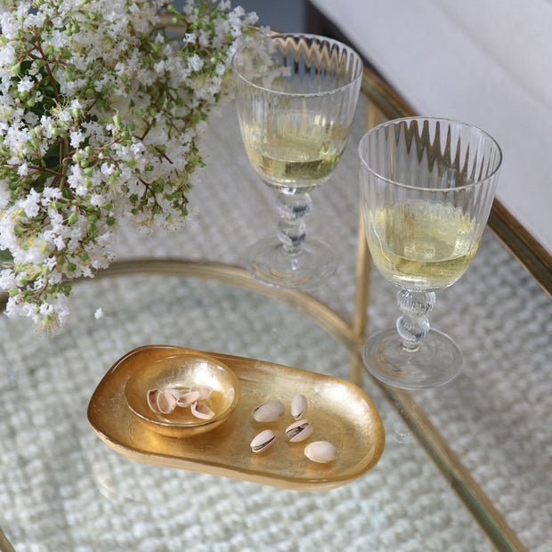 Beatriz Ball New Orleams Glass Gold Foil Oval Platter with Mini Bowl - Small