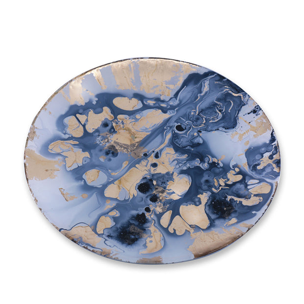Beatriz Ball New Orleans Glass Blue and Gold Marble Round Platter - Large