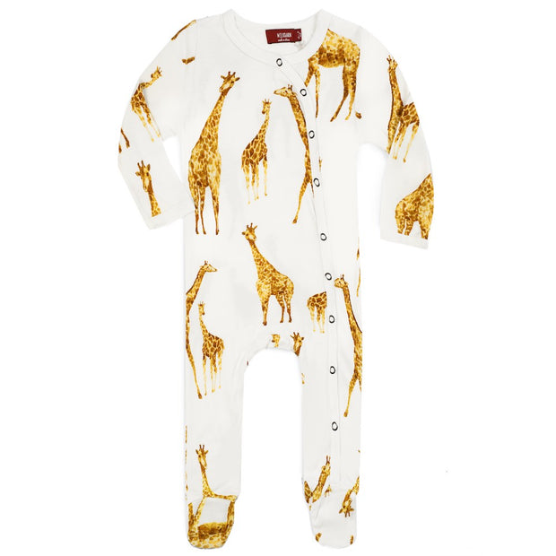 Milkbarn Orange Giraffe Footed Pajama