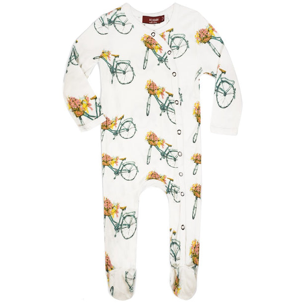 Milkbarn Floral Bicycle Footed Pajama