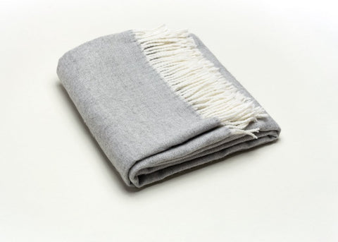 Fringed Herringbone Throw - Light Grey
