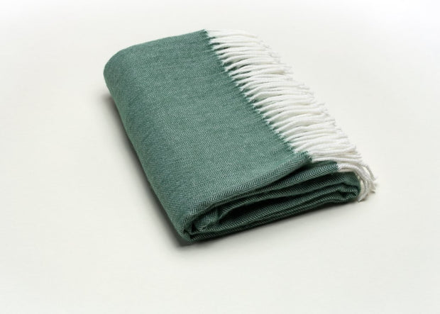 Fringed Herringbone Throw - Moss
