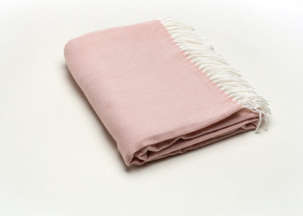 Fringed Herringbone Throw - Pink