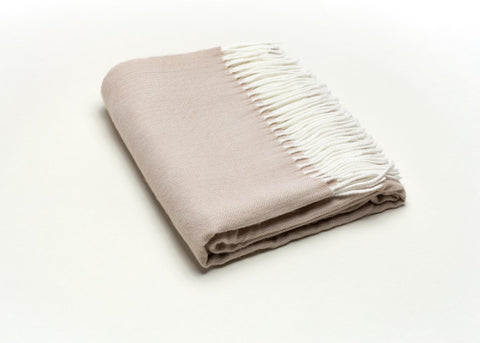 Fringed Herringbone Throw - Sand