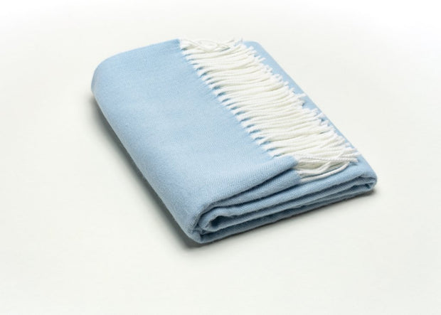 Fringed Herringbone Throw - Sky