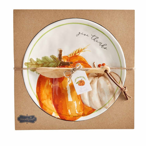 Give Thanks Pumpkin Cheese Plate with Spreader