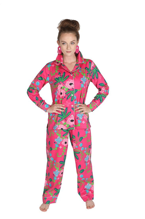 Botanica Pink Sateen Pajama Pants Set