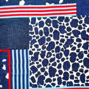Red, White, and Blue Scarf with Eyelash Trim